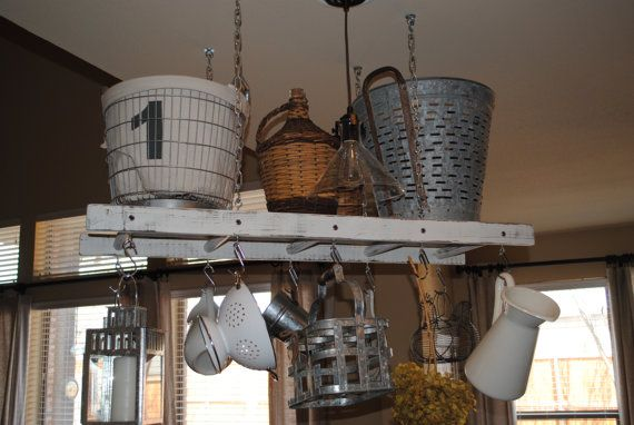 White with Walnut Distressing Rustic Ladder Pot Rack, Repurposed Ladder, Farmhouse Pot Rack and Ladder, Cottage Chic Kitchen Decor
