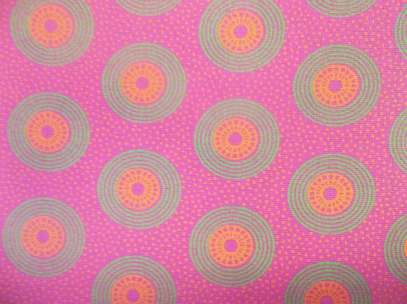 1.1 Yard (1 meter) of Pink and Green ShweShwe / South African Cotton, with Green and Yellow Retro Circles on Etsy, $11.00