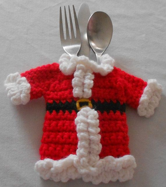 Christmas Silverware Caddy Tableware Utensil by CrochetByIlene, $10.00