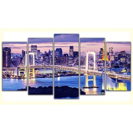 Obraz w 5 częściach poliptyk na płótnie - Tokio #fedkolor #Tokio #Japonia #orient #miasto #miejskie #most #zdjęcie #obraz #zdjęcienapłótnie #obrazzezdjęcia #poliptyk #wnętrza #pomysły #inspiracje #podróże #nastrojowe