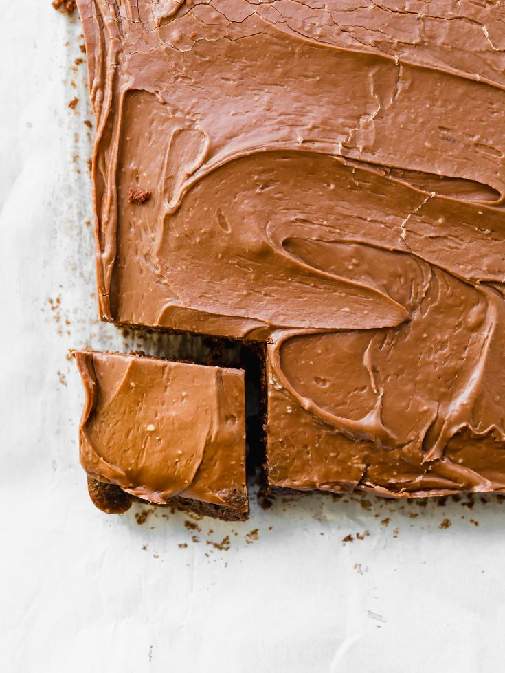 """This Chocolate Sheet Cake delivers a moist and delicate cake, with a thick and smooth frosting. It's made in a 13""""x9"""" pan for perfect cake/frosting ratios!"""