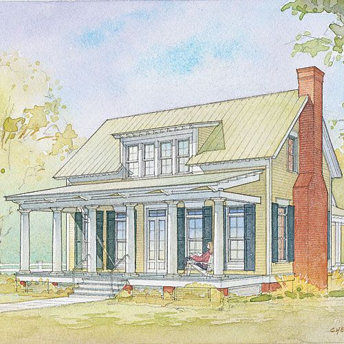 Southern Cottage House Plans: Lowcountry Cottage (© Moser Design Group)
