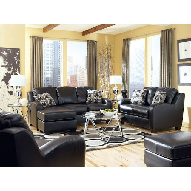 Devin Durablend Black Leather Living Room Set: Sofa Chaise, Loveseat And  Chair $1579.97 At Part 73
