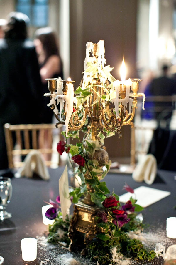 black, Candelabra, candle, centerpiece, elegant, gold, gothic, green, Hempstead House, melted, red, roses, table, vines, white, 1. Art Beauty Life: Jenny Ebert Photography captures the best documentary wedding photos in New York City.