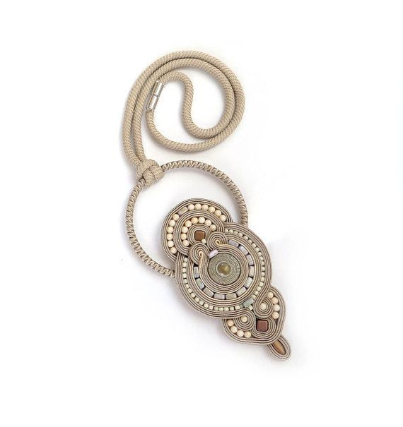 Beige ivory necklace soutache OOAK statement necklace by sutaszula