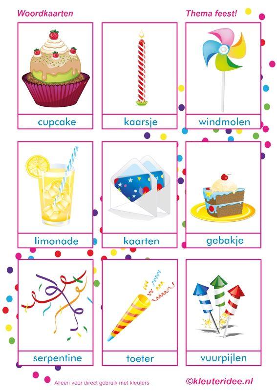 Woordkaart 2, thema feest voor kleuters, juf Petra van kleuteridee, ook te gebruiken bij kinderboekenweek 2014, free printable.
