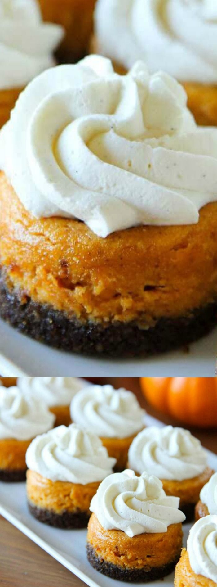 These Mini Pumpkin Cheesecakes with Gingersnap Crusts from Life Made Simple will surely become one of your new fall favorites! They are spiced to perfection and topped with a delicious vanilla bean whipped cream.