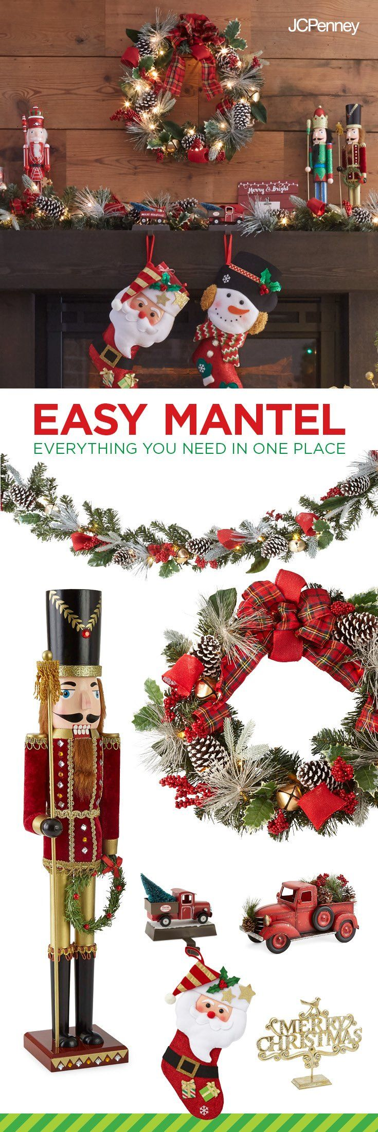 Tap to Shop!// Make your mantle merry with one-stop shopping at JCPenney. Pre-lit Christmas Wreath and garland? Check. Traditional nutcracker soldier? Check, check. Dozens of jolly St. Nick Knick-knacks? All here. So stop stressing and start decking.