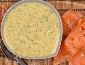 Hovmästarsås eller gravlaxsås. En sås med dill, senap, vinäger och olja. En klassisk sås till gravad lax och kokt potatis, till julbordet eller midsommar.
