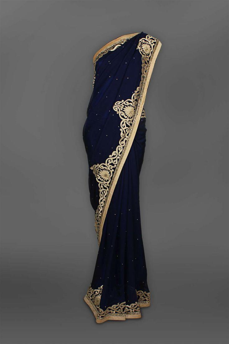 Fancy Dark Navy Blue Georgette Sari