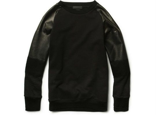 mqueen leather sleeved crew neck.