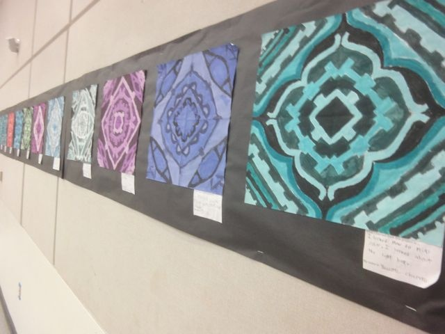 Names in symmetrical balance. A lesson in balance, monochromatic color theory, shades and tints, and perserverance!