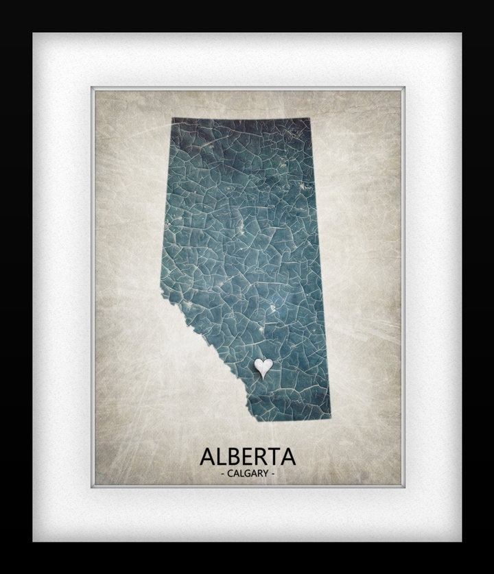 Canada Province Alberta Map Art Print - Home Is Where The Heart Is Love Map
