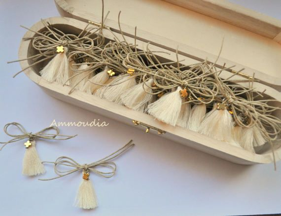 Martyrika with cotton tassel and hematite cross by AMMOUDIA