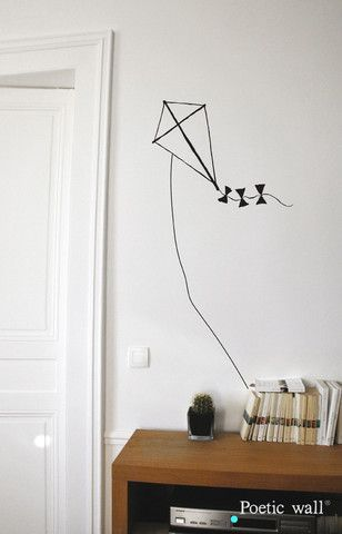 "Stickers ""cerf volant"" par Poetic Wall"
