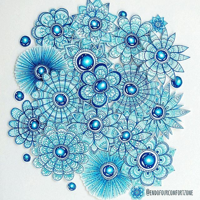 The current stage of my mini #mandala #flowers :) all cut out and waiting to be turned into something. Today I finally took the photos of some drawings I made recently and which I want to show you this week. #mandalaart #blue #fineliner #mandalala #art #drawing #adultcoloring