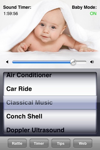 iTunes-White Noise Baby app, has 17 soothing sounds for baby