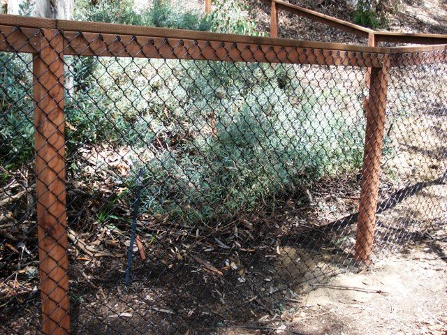 Cheap Fence Ideas,  Coated Chain link w/ WOOD Posts & Rails http://www.barrettfence.com/chain_link.html
