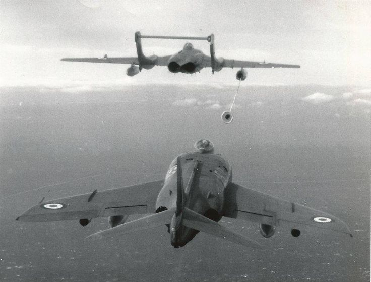 """Modified Sea Vixen refueling a Scimitar on special Ops off of HMS Victorious """"somewhere"""" in Far East, 1961"""