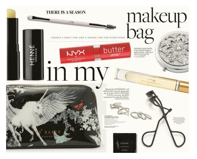 """""""What's in Your Makeup Bag?"""" by katarina-blagojevic ❤ liked on Polyvore featuring beauty, Ted Baker, Henné Organics, NYX, Frontgate, Burberry, Kendra Scott and Cleanse by Lauren Napier #BurberryBags"""