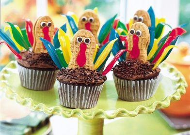 Thanksgiving cupcakesDesserts Recipe, Thanksgiving Turkey, Birthday Parties, Cupcakes Recipe, Thanksgiving Cupcakes, Thanksgiving Desserts, Turkey Cupcakes, Birthday Ideas, Thanksgiving Treats