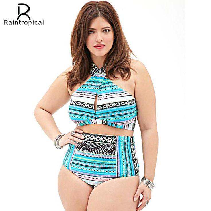 Plus Size Swimwear High Waist Swimsuit High Neck BikiniCross Bikinis Women Swimsuit Top Bathing suit female swimwear 5XL