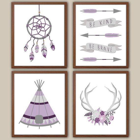 Bohemian Nursery Art For Girls Girl Nursery by iNKYSQUIDKIDS