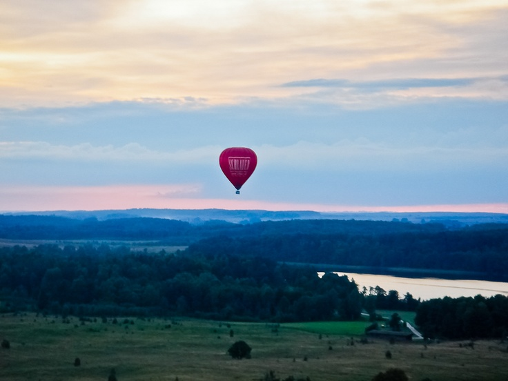 Flying balloons over Masuria Lake district, Poland