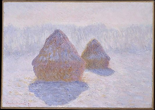"""Claude Monet (French, 1840–1926). Haystacks (Effect of Snow and Sun), 1891. The Metropolitan Museum of Art, New York. H. O. Havemeyer Collection, Bequest of Mrs. H. O. Havemeyer, 1929 (29.100.109)    """"I am working very hard, struggling with a series of different effects (haystacks), but at this season the sun sets so fast I cannot follow it. . . .  The more I continue, the more I see that a great deal of work is necessary in order to succeed in rendering what I seek."""" #snow #monet"""
