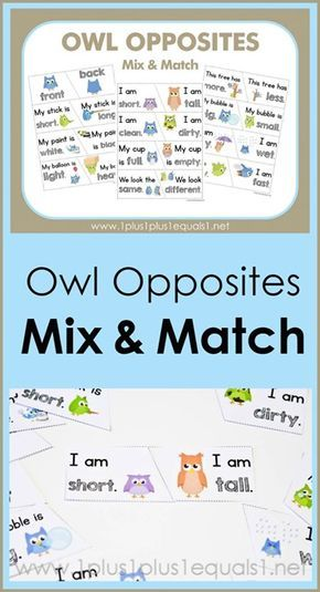 Owl Opposites Mix and Match Printables ~ what a fun way to teach opposites! Adorable owls showing many different opposite words {hot - cold, short - tall, wet - dry and many more!} Free printables are great for early childhood education!