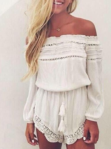 beach style outfit - weißer kurzer jumpsuit im romantischen carmen look *** beach style outfit romantic - white short jumpsuit