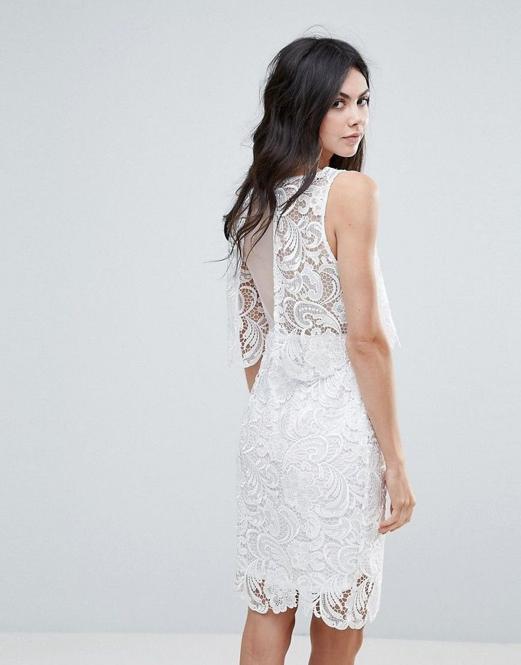 Amy Lynn Lace Overlay Midi Dress With Open Back - White