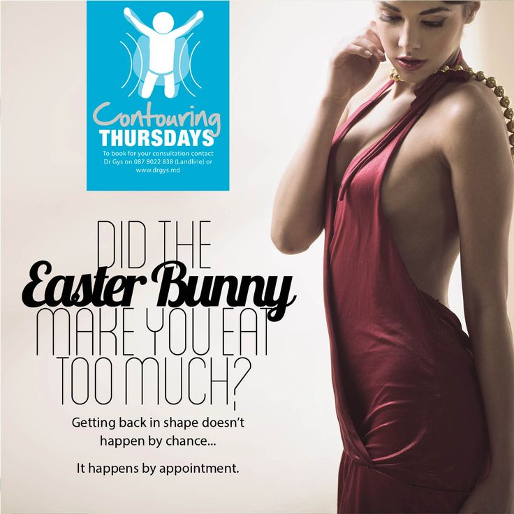 Did the Easter Bunny make you eat too much? Getting back in shape doesn't happen by chance... It happens by appointment. Book yours now @DrGys. We have a range of non-invasive #body #contouring treatments available.
