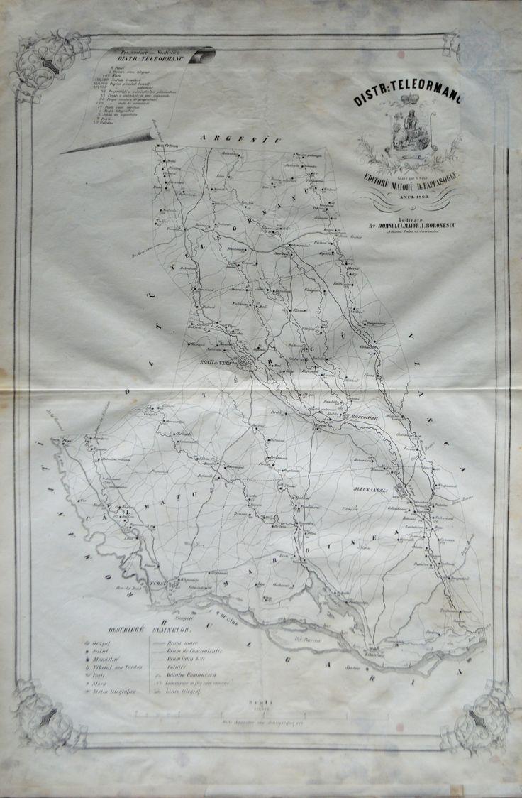 """Districtul Teleormanu, întocmit şi editat de Maior D. Pappasoglu, 1863. Imagine din colecțiile Bibliotecii """"V.A. Urechia"""" Galați."""