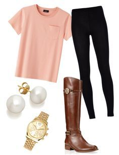 Cute, simple casual outfit.  Get the same look with thick leggings only $11.99 on Amazon.