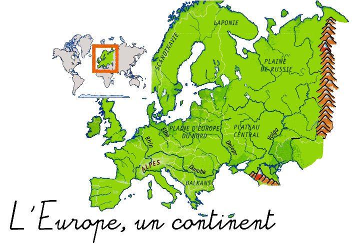 Voici une séquence sur le continent européen (reliefs, hydrographie et climats) prévue pour une classe de CM1.