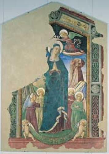 Pierantonio Mezzastris - Madonna della misericordia - affresco staccato - Palazzo Trinci,  Pinacoteca civica, Foligno (Umbria)