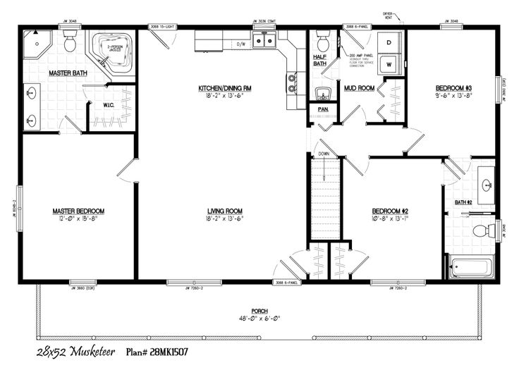 28 x 52 with 6 - Clayton Homes Floor Plans 3 Bedrooms 28 Quot Width 44length