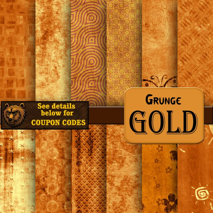 gold digital paper, grunge, background, scrapbook by BearsDenDigitalArts on Etsy