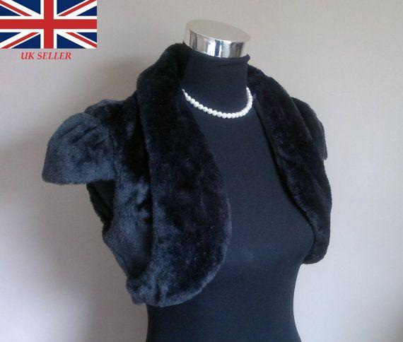 Faux Fur Bolero / Shrug / Jacket / Shawl / Wrap / Weddings Full Satin Lining - UK 4-26 Colours available : Black or Ivory