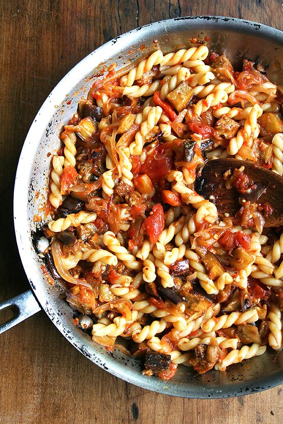 Chez Panisse Eggplant, Caramelized Onion and Tomato Pasta!    Yum yum! If you're anything like me you have a decent amount of egg plant and never quite know what to do with it all. Here's one yummy dish that will stimulate your tastebuds