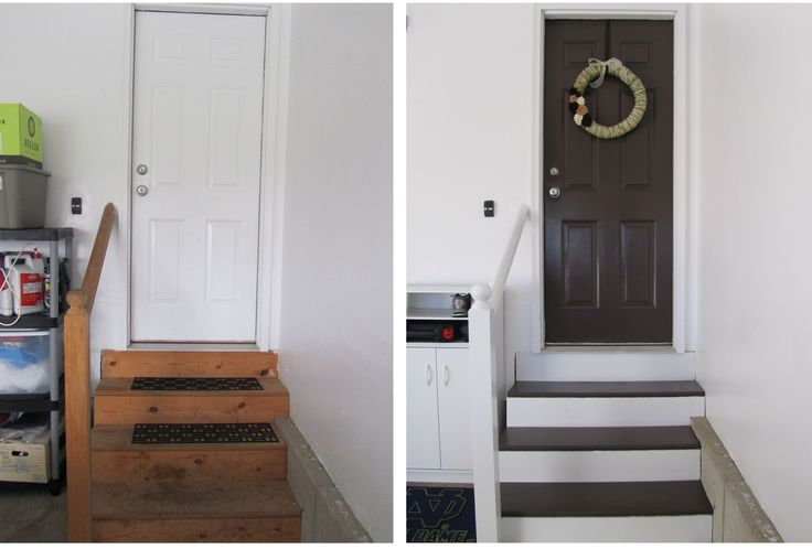 Nailed it! It's amazing what some white semi-gloss, Valspar Duramax in Labrador and a hand made wreath did to our garage entry door- the door WE use the most!