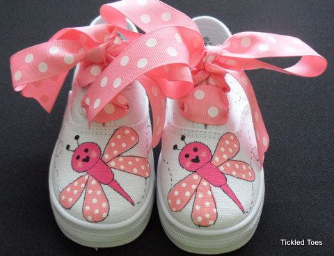 Love+Bug+Canvas+Lace+Up+Hand+Painted+Children's+by+tickledtoes,+$36.00