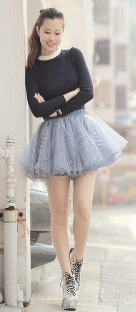Tulle Polka Dots Skater Skirt