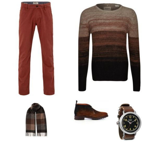 Casual Look outfit - Urban fashion - Deze look is perfect voor een koude, winterse dag. De broek van Mexx en de trui met kleurverloop van Levi's Made & Crafted. De schoenen van Santoni, het horloge van Nixon en de sjaal van Alveare maken het geheel compleet.