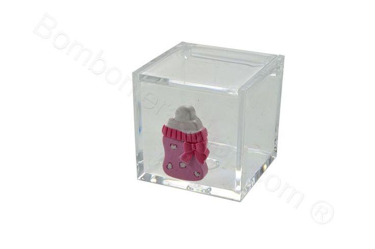 Cubo in plexiglass con applicazione biberon e bavaglio in resina rosa per il fai da te della bomboniera (LS)