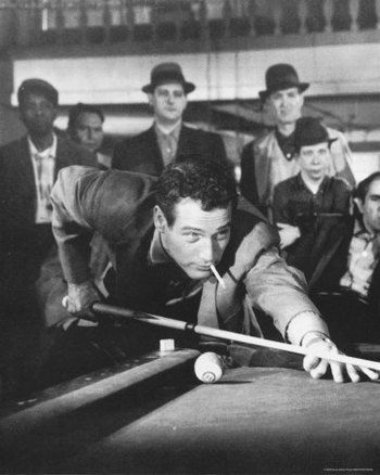 The Hustler: Paul Newman. Billiards movie, prerequisite to the Color of Money. Awesome black and white movie