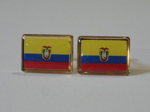 Ecuador Flag Cufflinks by LoudCufflinks on Etsy