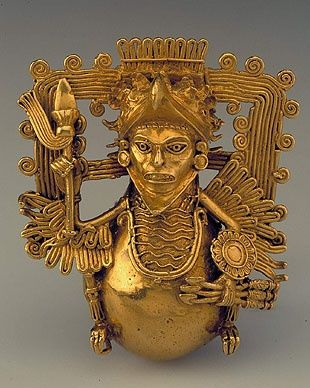 Gold Bell in the Form of an Eagle Warrior, Aztec