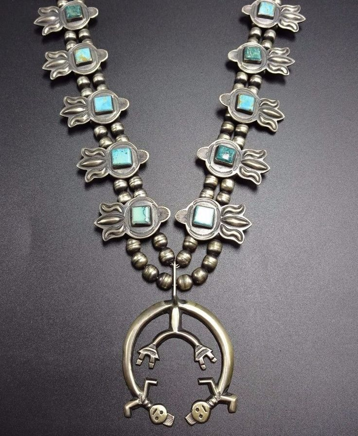 Vintage NAVAJO Sterling Silver & Turquoise SQUASH BLOSSOM Necklace HARRY MORGAN $1,043.89